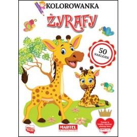 Kolorowanka z naklejk.Żyrafy