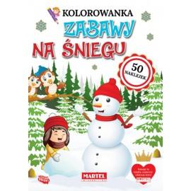 Kolorowanka Zabawy na śniegu z naklejkami